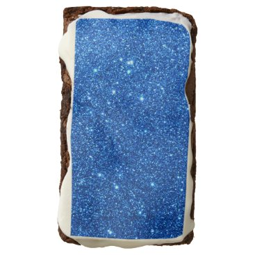 Beach Themed Bright Blue Glitter Sparkles Chocolate Brownie