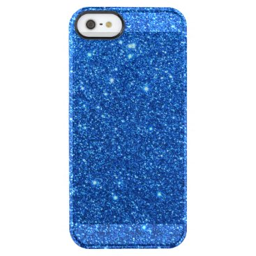 Beach Themed Bright Blue Glitter Sparkles Clear iPhone SE/5/5s Case