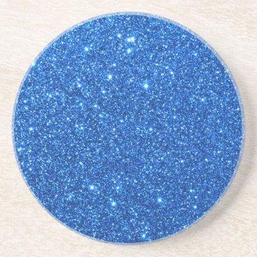 Beach Themed Bright Blue Glitter Sparkles Coaster