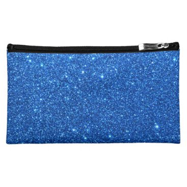 Beach Themed Bright Blue Glitter Sparkles Cosmetic Bag