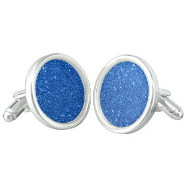 Beach Themed Bright Blue Glitter Sparkles Cufflinks