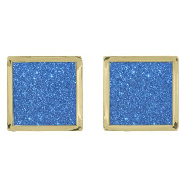 Beach Themed Bright Blue Glitter Sparkles Cufflinks