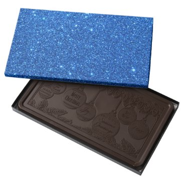 Beach Themed Bright Blue Glitter Sparkles Dark Chocolate Bar