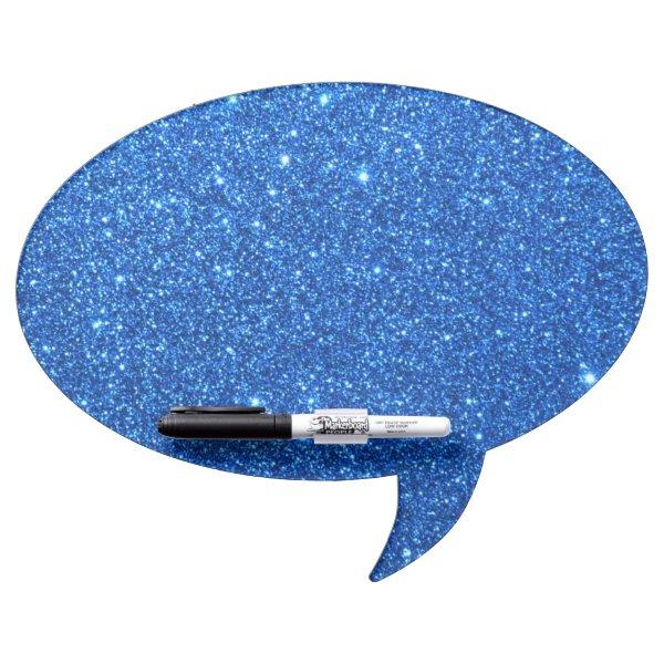 Bright Blue Glitter Sparkles Dry Erase Board