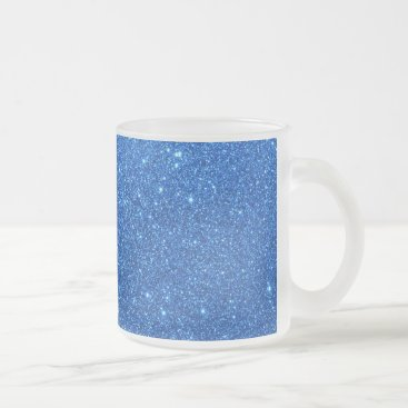 Beach Themed Bright Blue Glitter Sparkles Frosted Glass Coffee Mug
