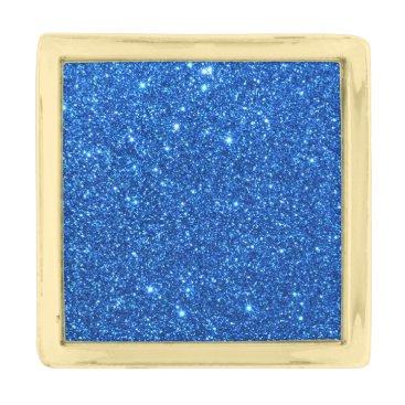 Beach Themed Bright Blue Glitter Sparkles Gold Finish Lapel Pin