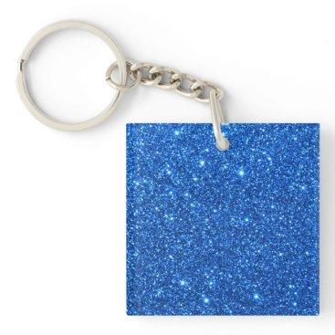 Beach Themed Bright Blue Glitter Sparkles Keychain