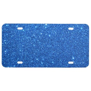 Beach Themed Bright Blue Glitter Sparkles License Plate