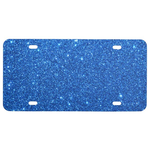 Bright Blue Glitter Sparkles License Plate