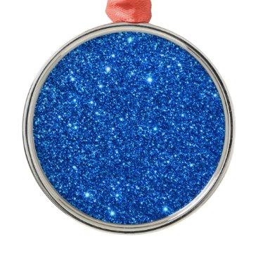 Beach Themed Bright Blue Glitter Sparkles Metal Ornament
