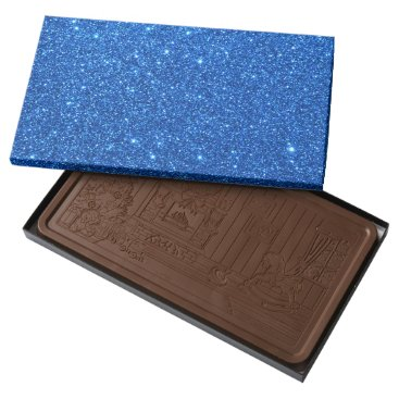 Beach Themed Bright Blue Glitter Sparkles Milk Chocolate Bar