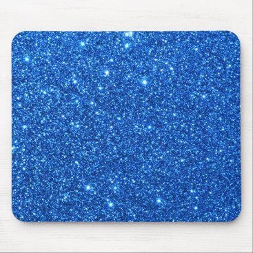 Beach Themed Bright Blue Glitter Sparkles Mouse Pad