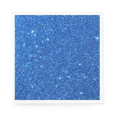 Beach Themed Bright Blue Glitter Sparkles Napkin