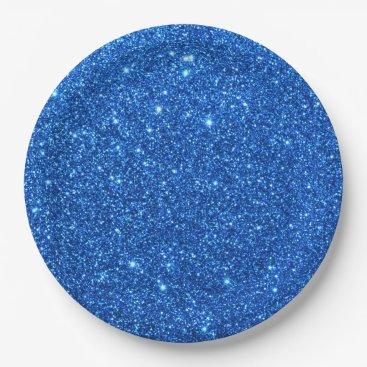 Beach Themed Bright Blue Glitter Sparkles Paper Plate