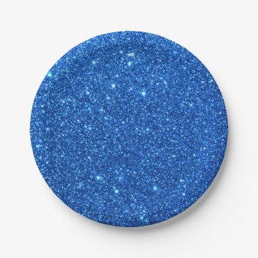 Beach Themed Bright Blue Glitter Sparkles Paper Plate