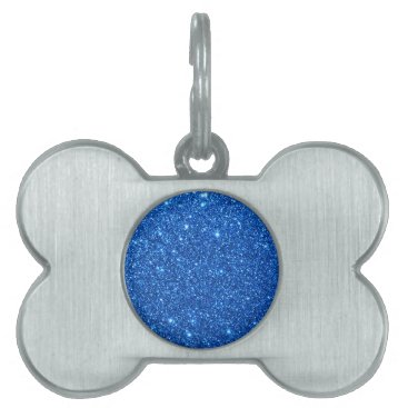 Beach Themed Bright Blue Glitter Sparkles Pet ID Tag