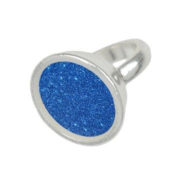 Beach Themed Bright Blue Glitter Sparkles Photo Rings