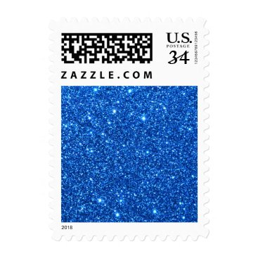 Beach Themed Bright Blue Glitter Sparkles Postage