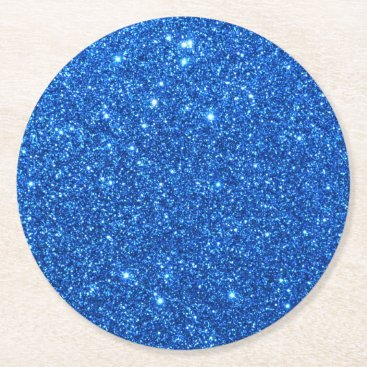 Beach Themed Bright Blue Glitter Sparkles Round Paper Coaster