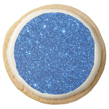 Beach Themed Bright Blue Glitter Sparkles Round Shortbread Cookie