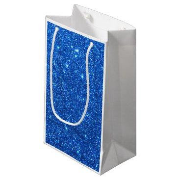Beach Themed Bright Blue Glitter Sparkles Small Gift Bag