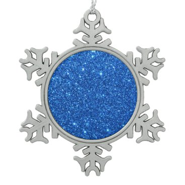 Beach Themed Bright Blue Glitter Sparkles Snowflake Pewter Christmas Ornament