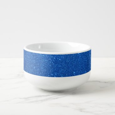 Beach Themed Bright Blue Glitter Sparkles Soup Mug