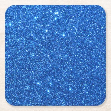 McTiffany Tiffany Aqua Bright Blue Glitter Sparkles Square Paper Coaster