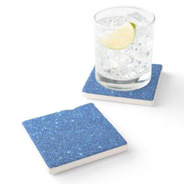 Beach Themed Bright Blue Glitter Sparkles Stone Coaster