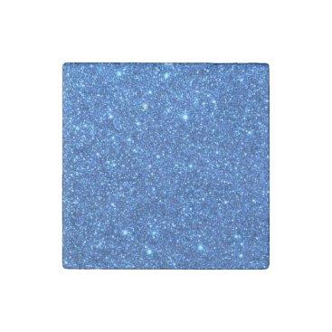 Beach Themed Bright Blue Glitter Sparkles Stone Magnet