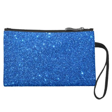Beach Themed Bright Blue Glitter Sparkles Suede Wristlet Wallet
