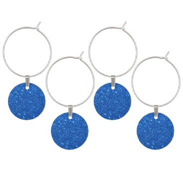 Beach Themed Bright Blue Glitter Sparkles Wine Glass Charm