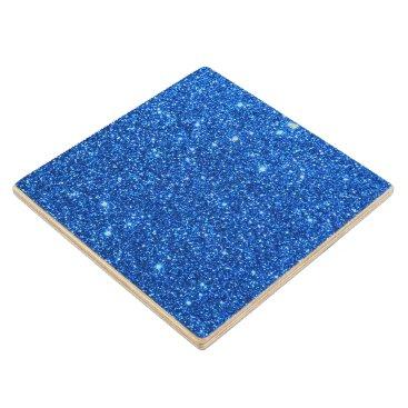 Beach Themed Bright Blue Glitter Sparkles Wooden Coaster