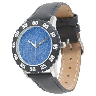 Beach Themed Bright Blue Glitter Sparkles Wrist Watch