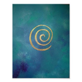 Bright Blue Gold Philip Bowman Print Abstract Art
