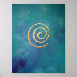 Bright Blue Gold Philip Bowman Print Abstract Art