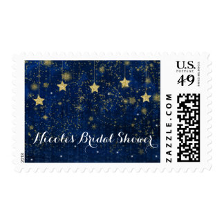 Bright Blue & Gold Starry Celestial Invitations Postage
