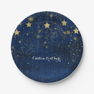Bright Blue & Gold Starry Celestial Party Paper Plate