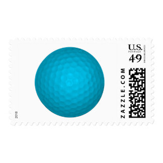 Bright Blue Golf Ball Postage Stamp