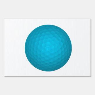 Bright Blue Golf Ball Lawn Sign