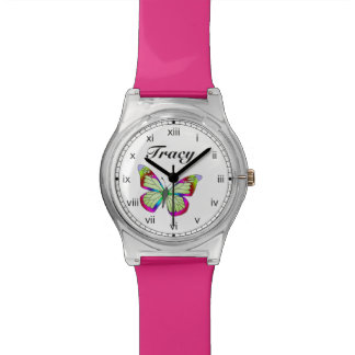 Bright blue green and pink whimsical water colored wristwatch