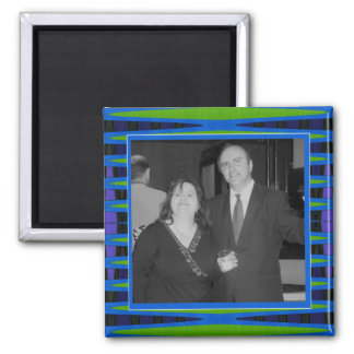 bright blue green photo frame 2 inch square magnet
