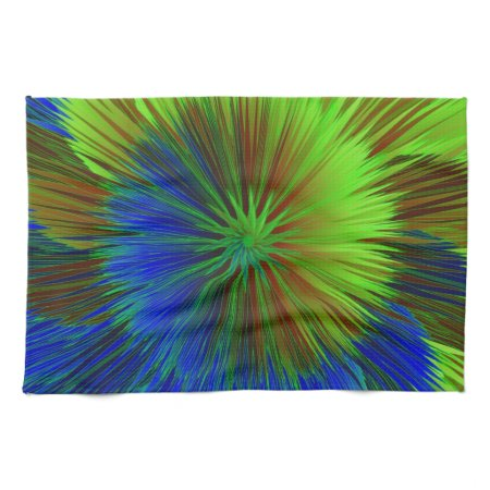 Bright Blue Green Star Burst Hand Towel