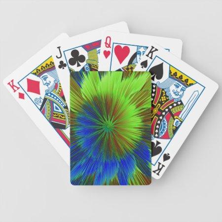 Bright Blue Green Star Burst Poker Deck