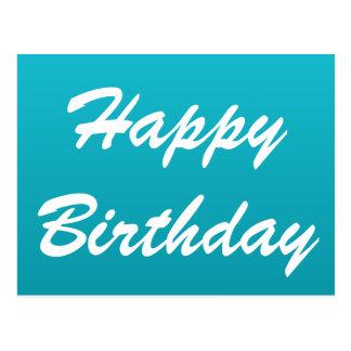 Bright Blue Happy Birthday Postcard