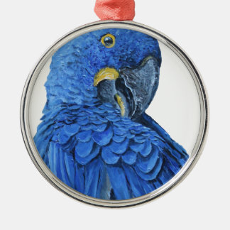 Bright blue Hyacinth Macaw Silver-Colored Round Decoration