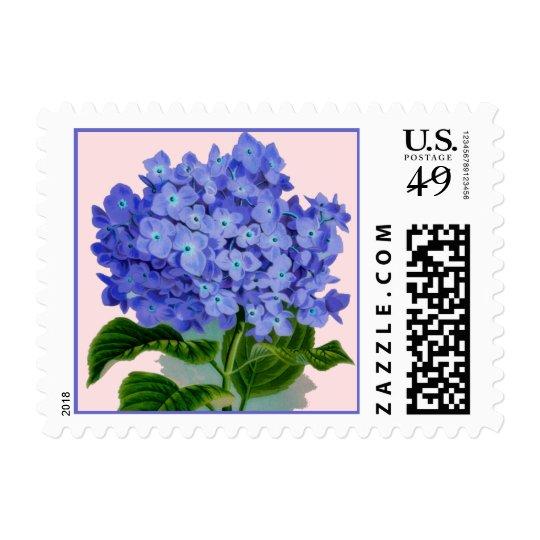 Bright Blue Hydrangea Flower Postage