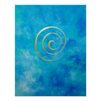 Bright Blue Infinity Golden Spiral Philip Bowman Posters