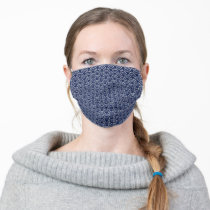 Bright Blue Japanese Wave Pattern Adult Cloth Face Mask