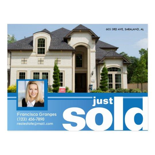 bright blue just sold real estate advert template postcard zazzle com